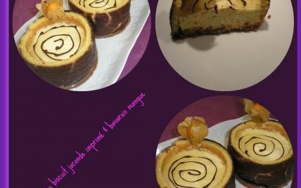 Puits au biscuit joconde imprimé et bavarois à la mangue - Photo par Annick