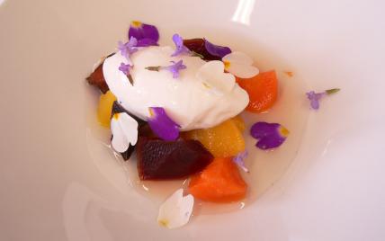 Variation sucrée de légumes racine, glace céleri - Photo par Chef Damien
