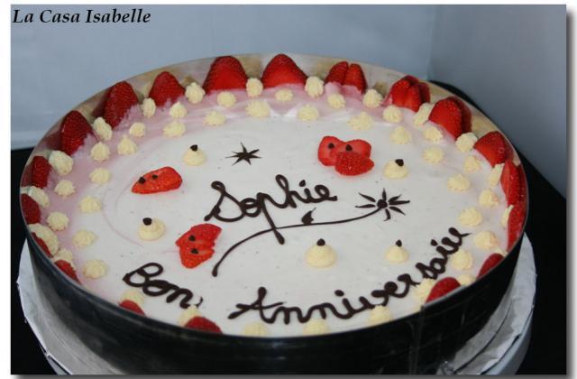 Gâteau sablé à la pistache et mousse de fraise - Photo par Isanena