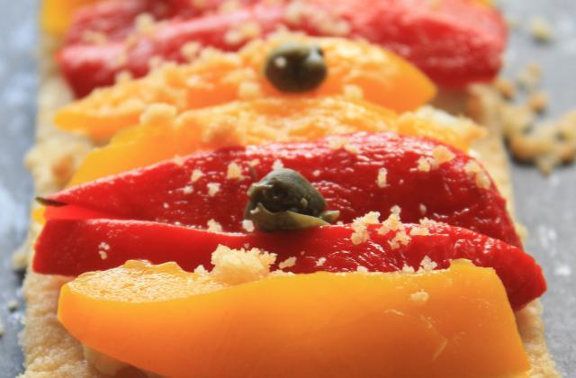 Tartine au fromage frais et aux deux poivrons - Photo par sarahrj