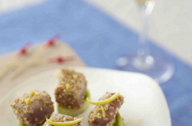 Bouchées de thon mi-cuit en marinade de cidre et sésame - Photo par Unicid