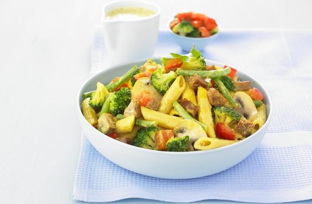Pâtes aux légumes et Seitan - Photo par Soy