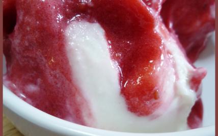 Sorbet à la framboise et yaourt à la grec - Photo par Anaïck