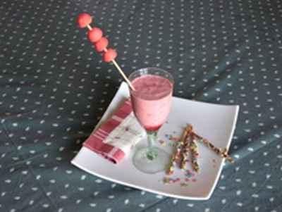Milk-shake aux framboises et fraises Tagada - Photo par joelleSg