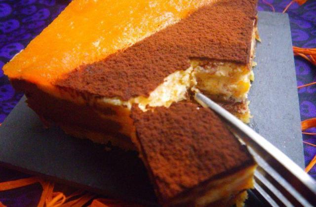 Cheesecake marbré potiron-orange et chocolat - Photo par moum00