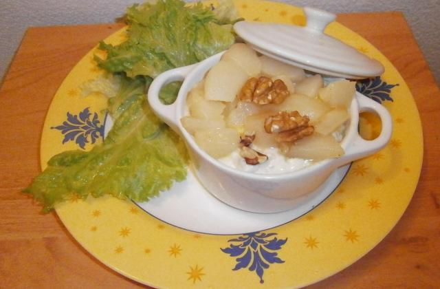 Mini-cocotte de purée de pomme de terre, bleu aux noix et poires - Photo par delicesdunenovice