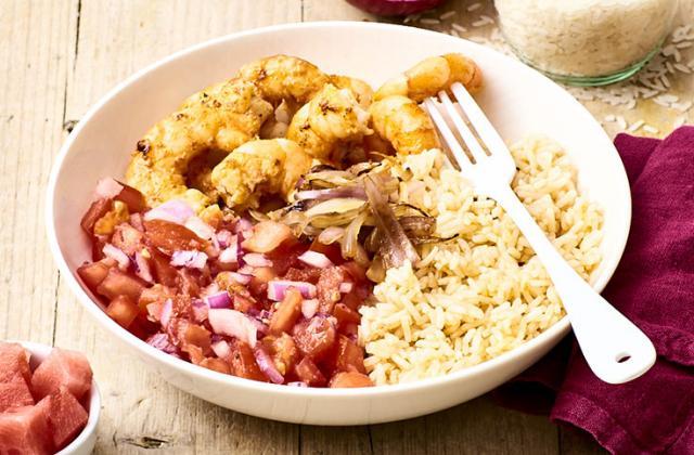 Crevettes marinées, salsa, riz sauté - Photo par Invité