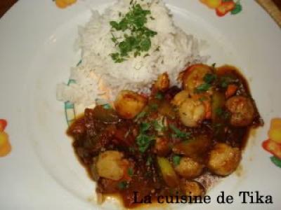 Noix de saint jacques au wok et légumes piquants - Photo par delphinetika