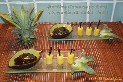 Sucettes d'ananas Victoria pochées à la vanille, chocolat chaud - Photo par vgonza