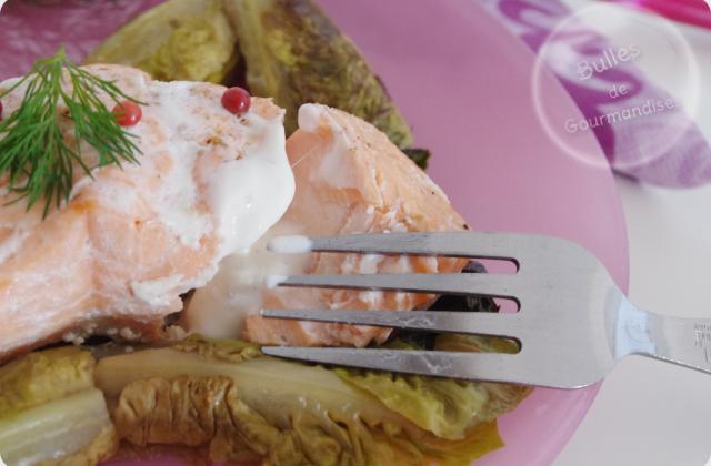 Papillotes de saumon, sucrines braisées et crème aux baies roses - Photo par Bulles de Gourmandises