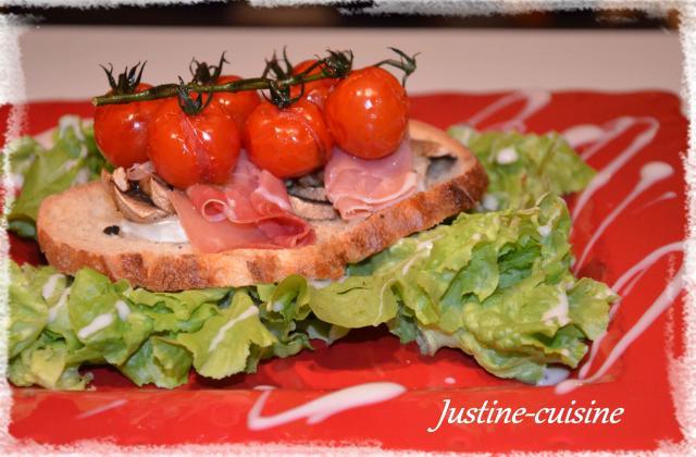Tartines de jambon cru au chèvre et tomates cerises confites - Photo par lemairEE