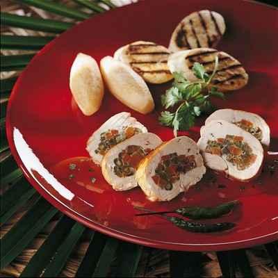 Fine volaille farcie à la brunoise de légumes, sauce au sésame - Photo par 750g