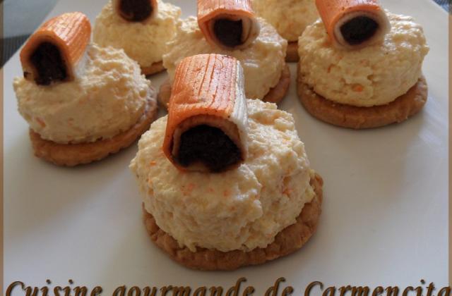 Sablé-crème brûlée surimi chèvre - Photo par Carmen