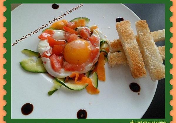 Oeuf mollet et tagliatelles de légumes à la vapeur - Photo par Annick