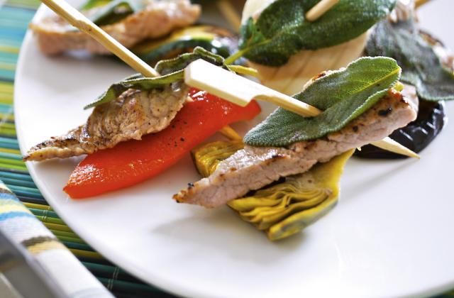 Brochettes façon saltimbocca de veau - Photo par Veau de Pentecôte