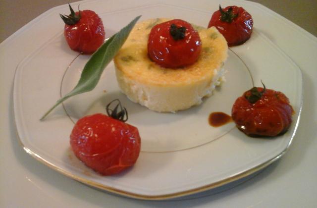 Flan au parmesan et à la sauge et sa farandole de tomates cerise - Photo par La table de Clara