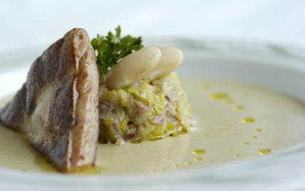 Velouté d'haricots tarbais (label rouge), fondue de poireaux au confit de poule, foie gras de canard IGP Sud-Ouest poêlé. - Photo par estellXU