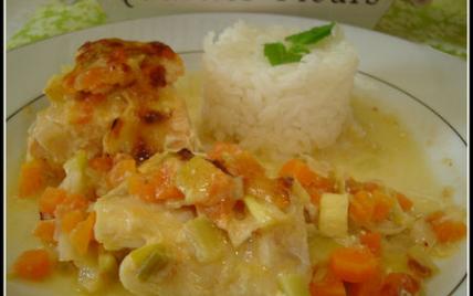 Gratin aux deux poissons (saumon et cabillaud) et petits légumes - Photo par petitedc