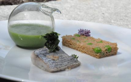Epeautre bio en taboulé aux petits pois et dorade en vapeur d'algues - Photo par nicolalMh