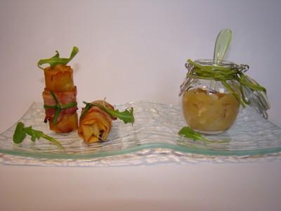 Petits croustillants de bray aux graines de lin, Chutney pomme granny oignon, quelques feuilles de roquette - Photo par Sandrine Baumann
