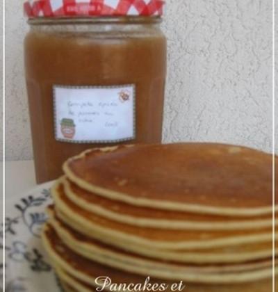 Pancakes et compote épicée de pommes au cidre - Photo par maybe