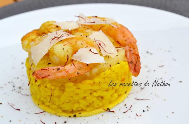 Risotto jaune au gambas et ananas sur lit d'omelette - Photo par Invité