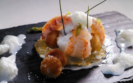 Tarte pommes de terre, langoustine et marrons - Photo par Ponthier