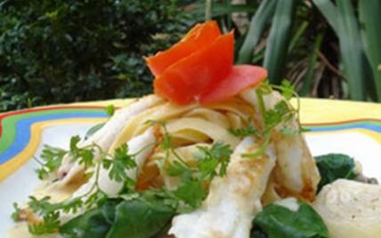 Goujonnettes de filets de sole aux pâtes fraîches et huîtres Arcachon Cap Ferret - Photo par AAPrA