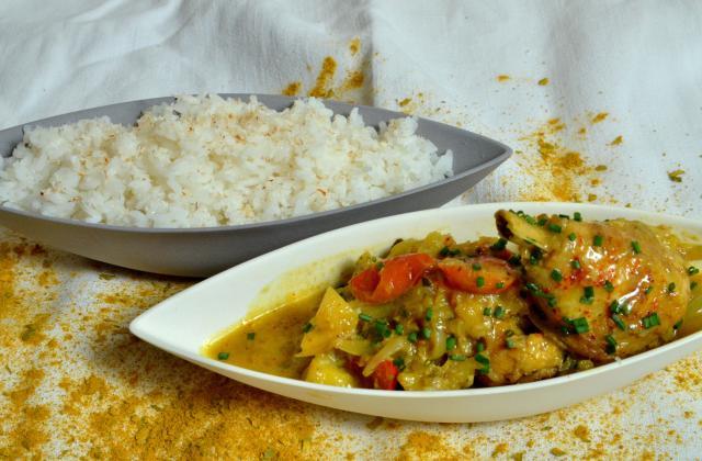 Curry de volaille minute, riz créole - Photo par Chef Damien