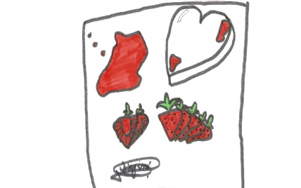 Cœur glacé à la violette et sa soupe de fraises - Photo par Christelle79