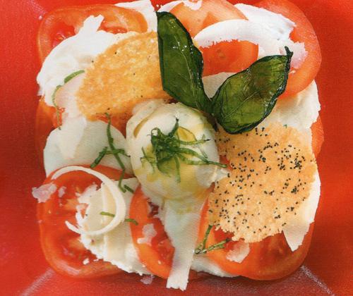 Salade en rouge et blanc et sorbet citron basilic - Photo par contacua