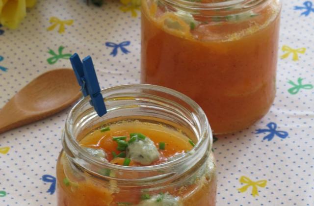 Compotée de melon à la vanille et billes de Roquefort Papillon - Photo par eloala
