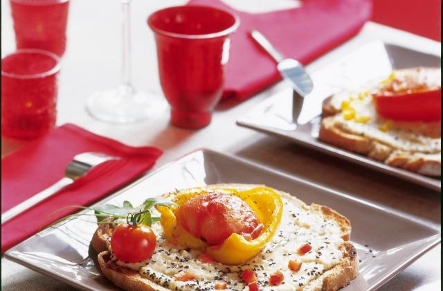 Poivrons confits à la tomate et aux haricots blancs montés à l'ail et à l'huile d'olive - Photo par Cassegrain