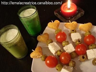Soupe de concombre et ses brochettes apéritif - Photo par emalamg