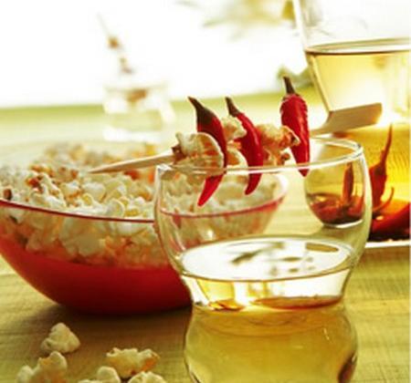 Pop corn aux épices et vodka au poivre et au piment - Photo par Luminarc