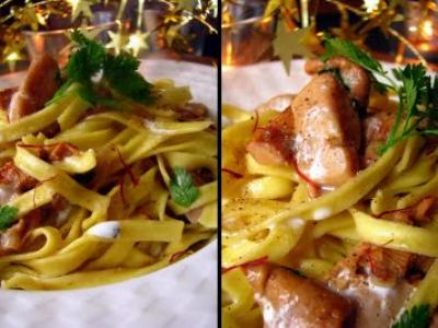Pâtes au safran, foie gras et girolles - Photo par dansla6
