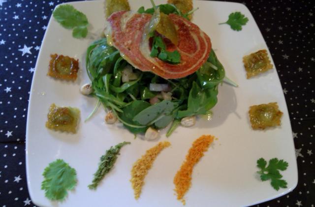 Salade de roquette, ravioles croustillantes et vinaigrette d'agrumes - Photo par sandraBF