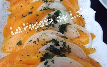 Carpaccio de mangue à l'huile d'olive parfumée à la vanille - Photo par lapopotedelolo