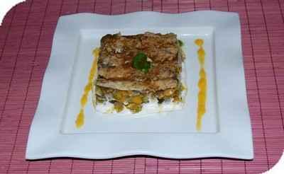 Sardines en escabèche sur lit de légumes confits et mascarpone à la coriandre - Photo par Babali