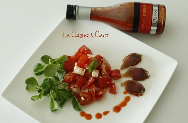 Salade de tomates et filet mignon séché au piment d'Espelette - Photo par Clovis