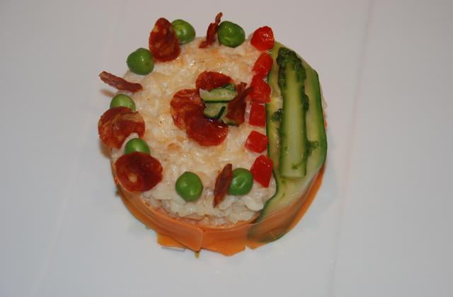 Risotto au miso blanc, petits légumes et chips de chorizo - Photo par jmalhe