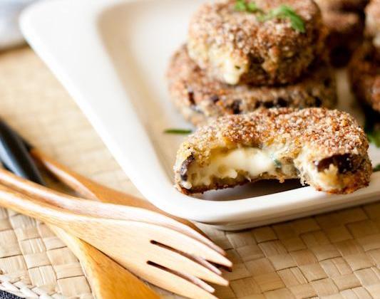 Aubergines panées et fourrées à la Fourme d'Ambert - Photo par Ré