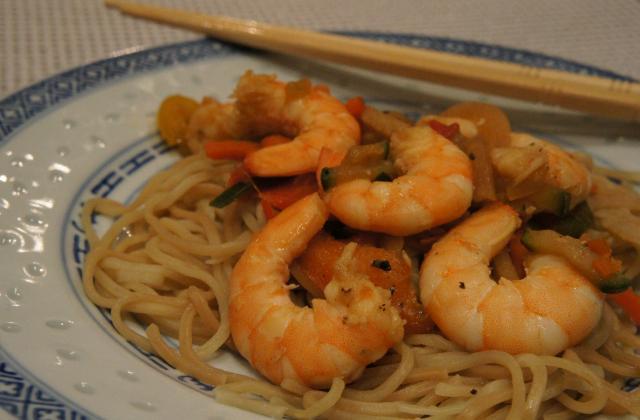 Crevettes sautées sauce soja pour l'année du Dragon - Photo par le book gourmand