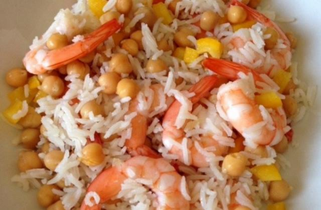 Salade de riz, crevettes et pois chiche - Photo par brigit064