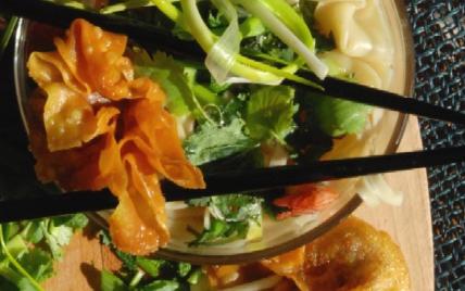 Soupe asiatique aux deux raviolis - Photo par dorian_nieto