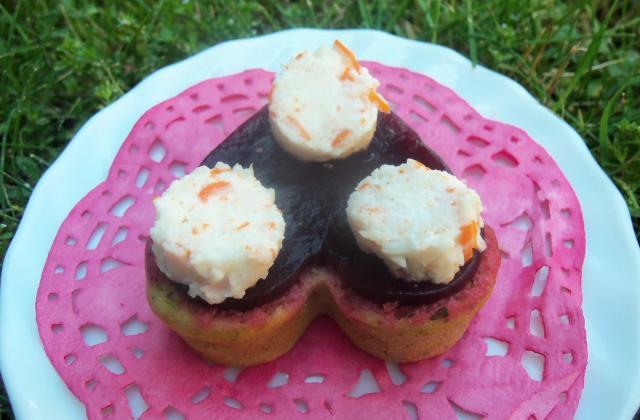 Cœurs moelleux gourmands basilic, betterave et panna cotta de surimi - Photo par verob