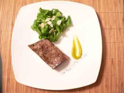 Foie de veau au poivre, purée de mangue - Photo par 750g