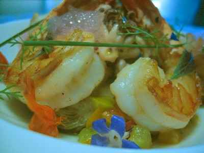 Gambas et artichauts bouillon solide - Photo par 750g