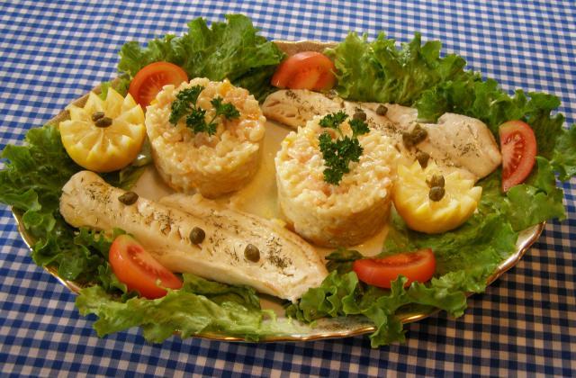 Risotto aux crevettes, accompagné de cabillaud - Photo par findv