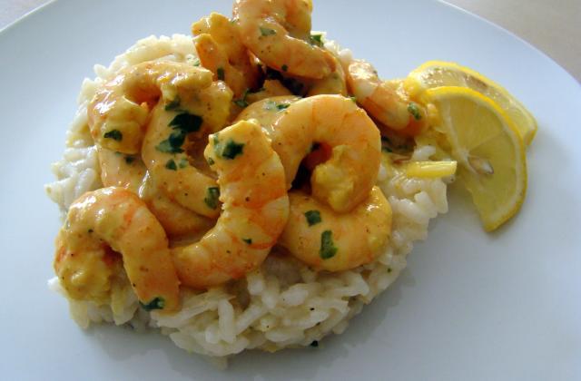 risotto aux poireaux et coteaux du Layon et ses crevettes curry-coco - Photo par boutinL